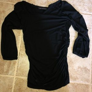 INC size small black scrunched fitted top